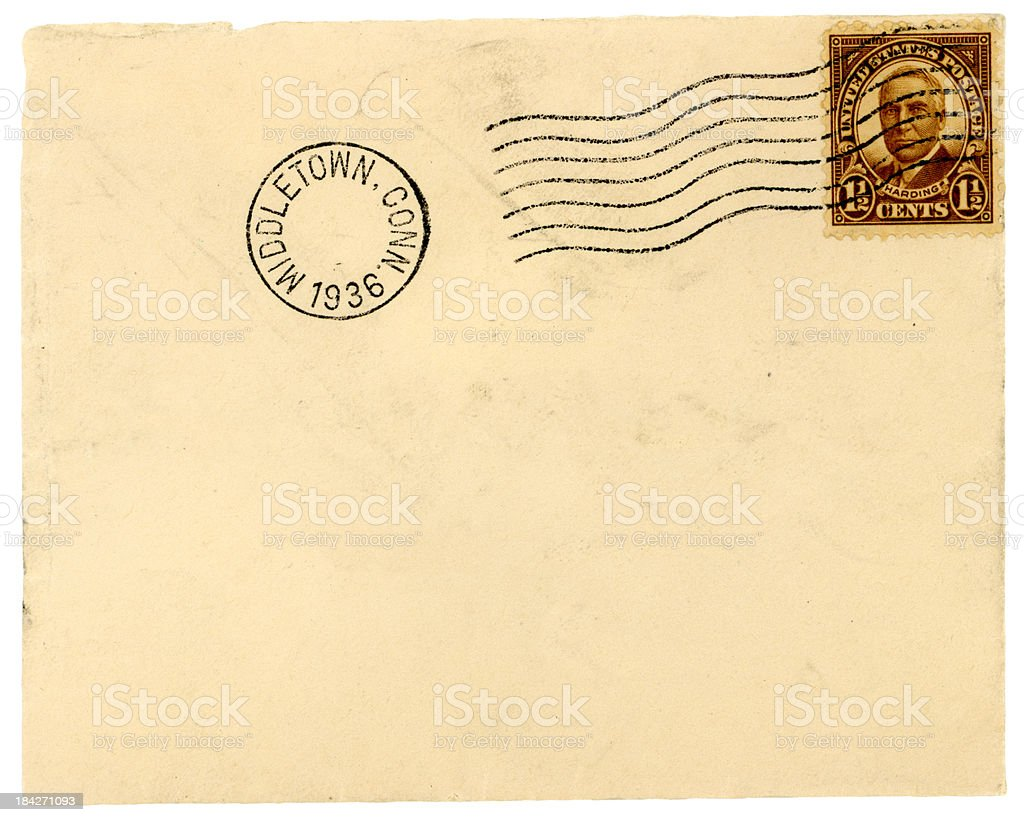 1936 Envelope from Middletown, Connecticut royalty-free stock photo