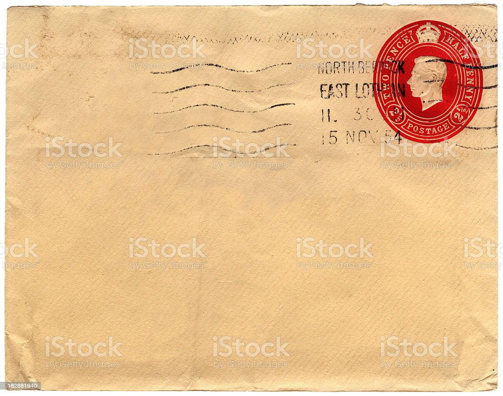 Envelope from Scotland 1954 royalty-free stock photo