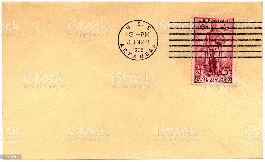 Envelope from USS Arkansas, 1936 royalty-free stock photo
