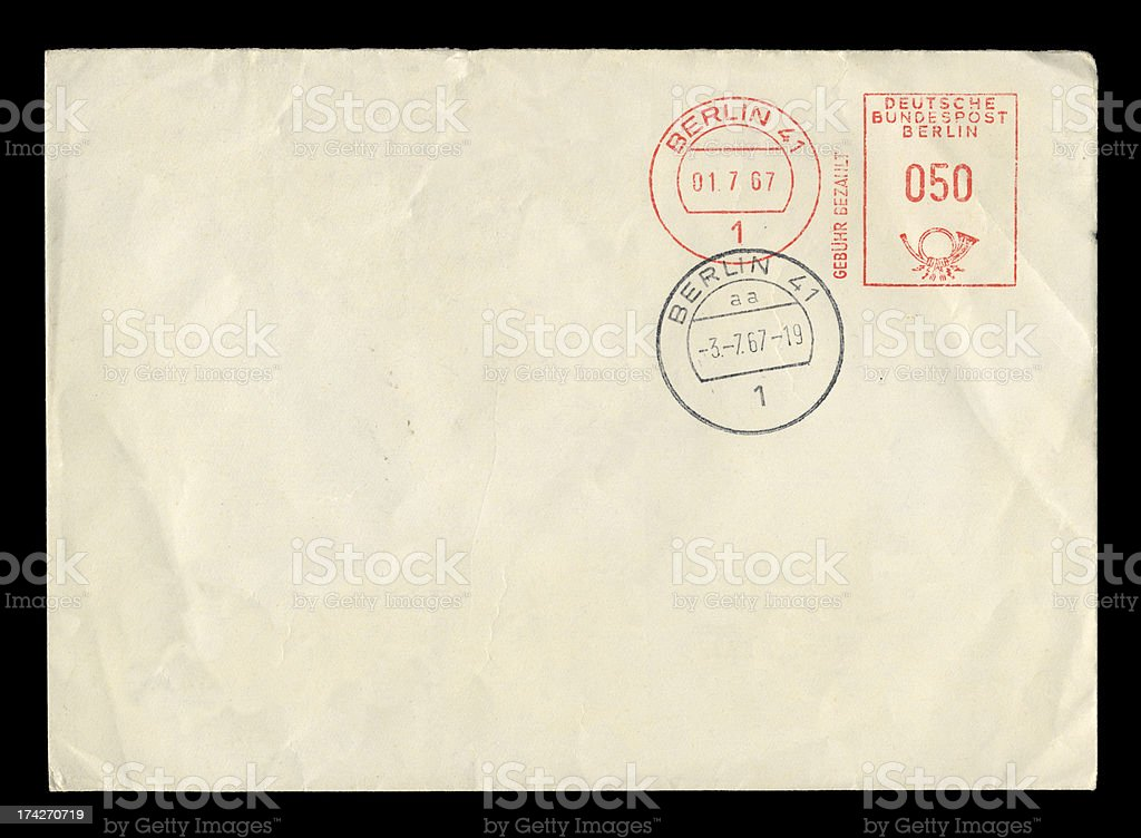 Envelope from West Berlin, 1967 stock photo