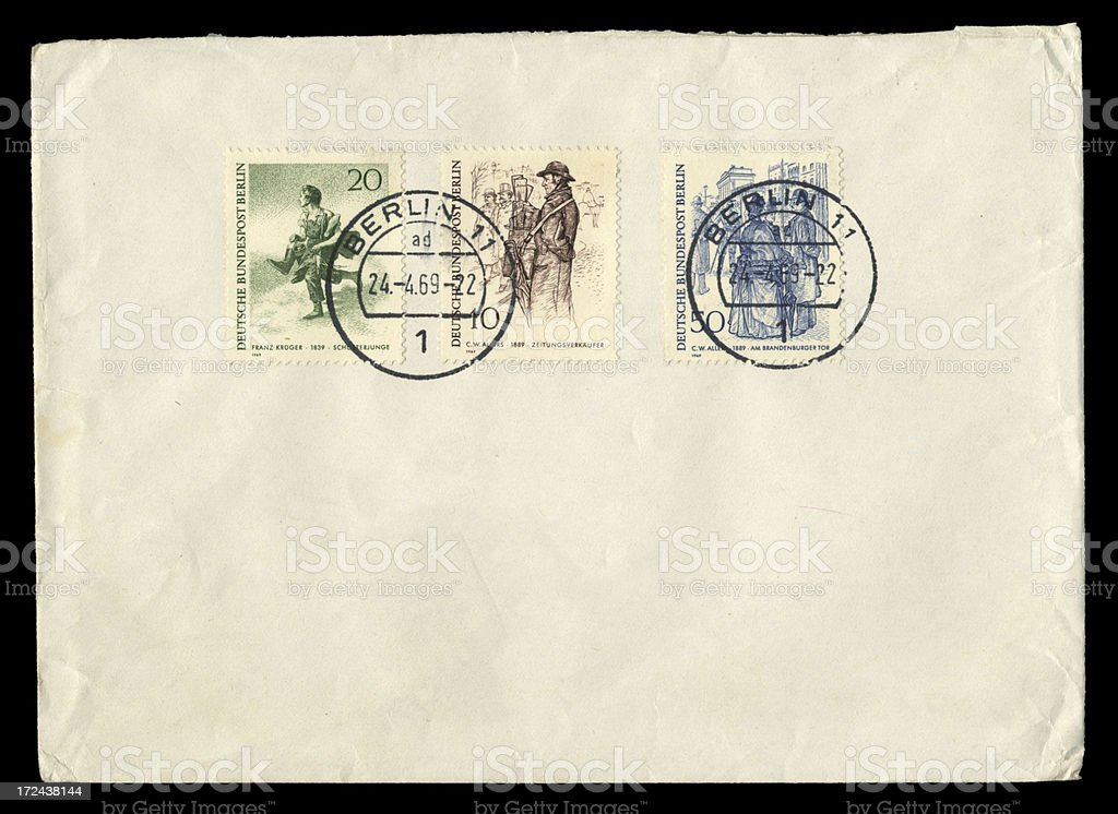 Envelope from West Berlin, 1969 stock photo