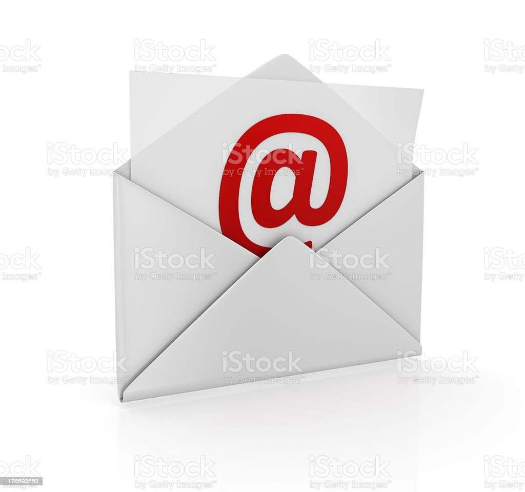 Envelope illustration with paper and @ symbol stock photo