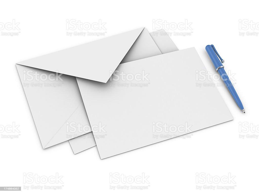 Envelope, Letter and Ballpoint Pen royalty-free stock photo