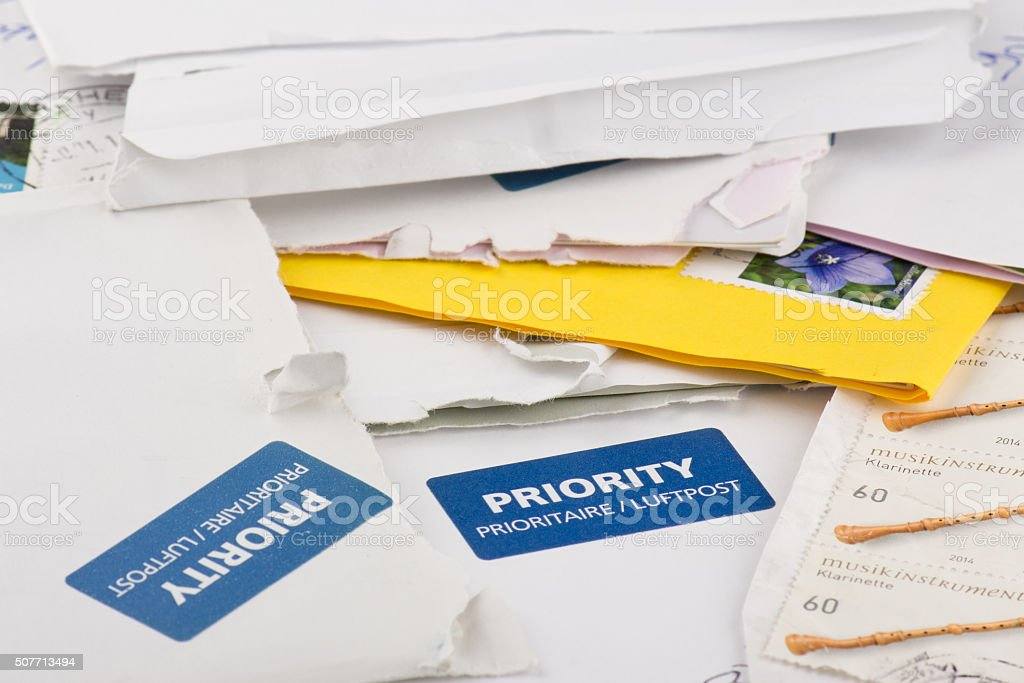 envelope, letters and postcards stock photo