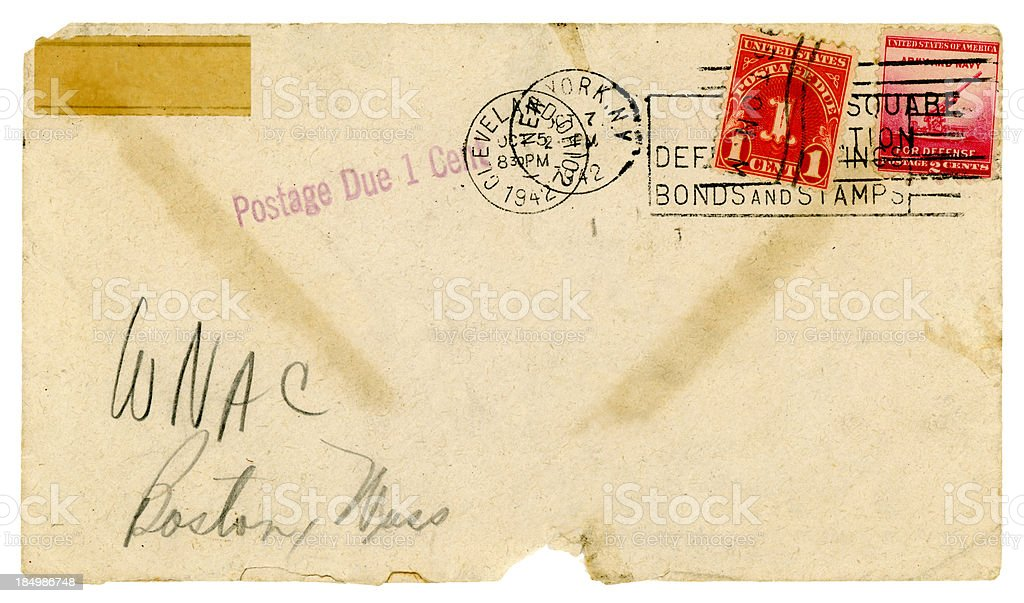 Envelope not accepted - postage due, USA 1942 royalty-free stock photo