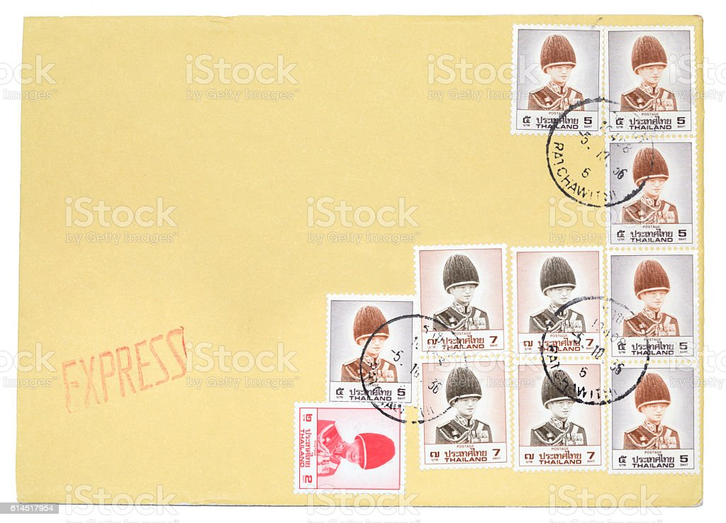 Envelope Of Thai Stamps Of His Majesty King Bhumibol Adulyadej stock photo