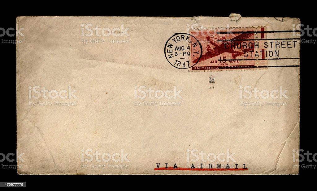 Envelope on black - New York 1947 royalty-free stock photo