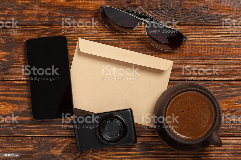 Envelope on the brown table stock photo