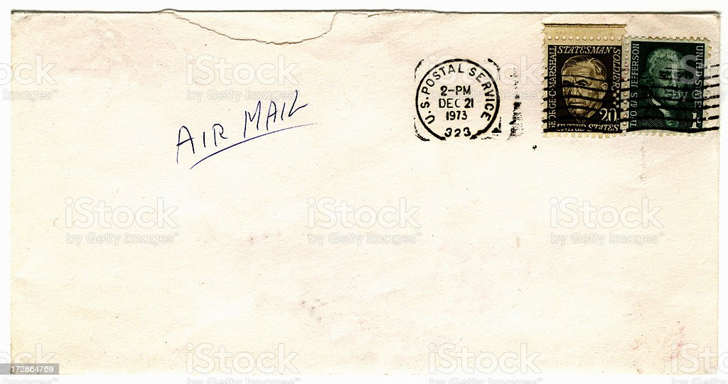 US envelope posted 1973 stock photo