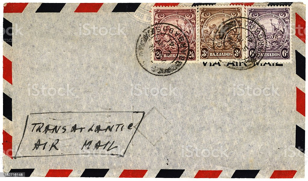 Envelope posted from Barbados in 1941 royalty-free stock photo