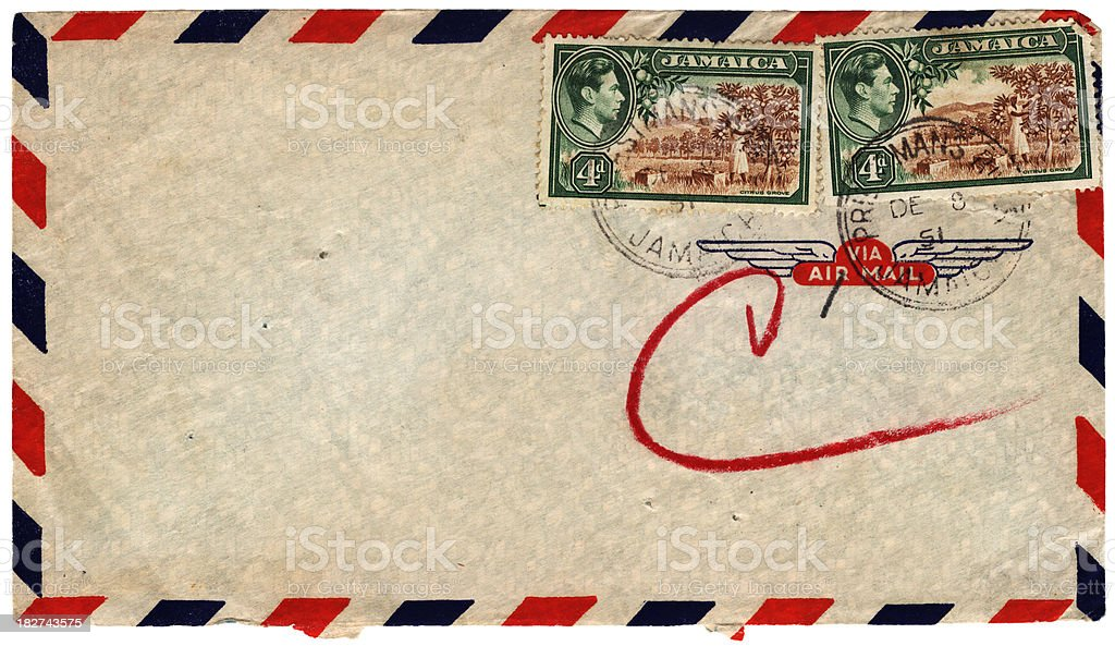 Envelope posted from Jamaica in 1951 royalty-free stock photo