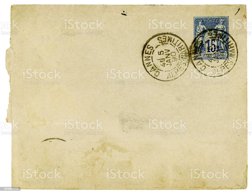 Envelope posted in Cannes, France, 1890 royalty-free stock photo