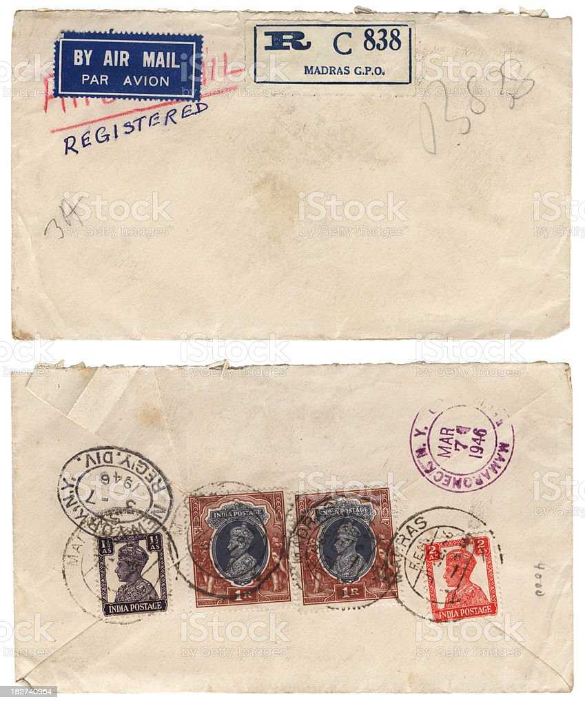 Envelope sent from Madras, India, to New York, 1946 stock photo