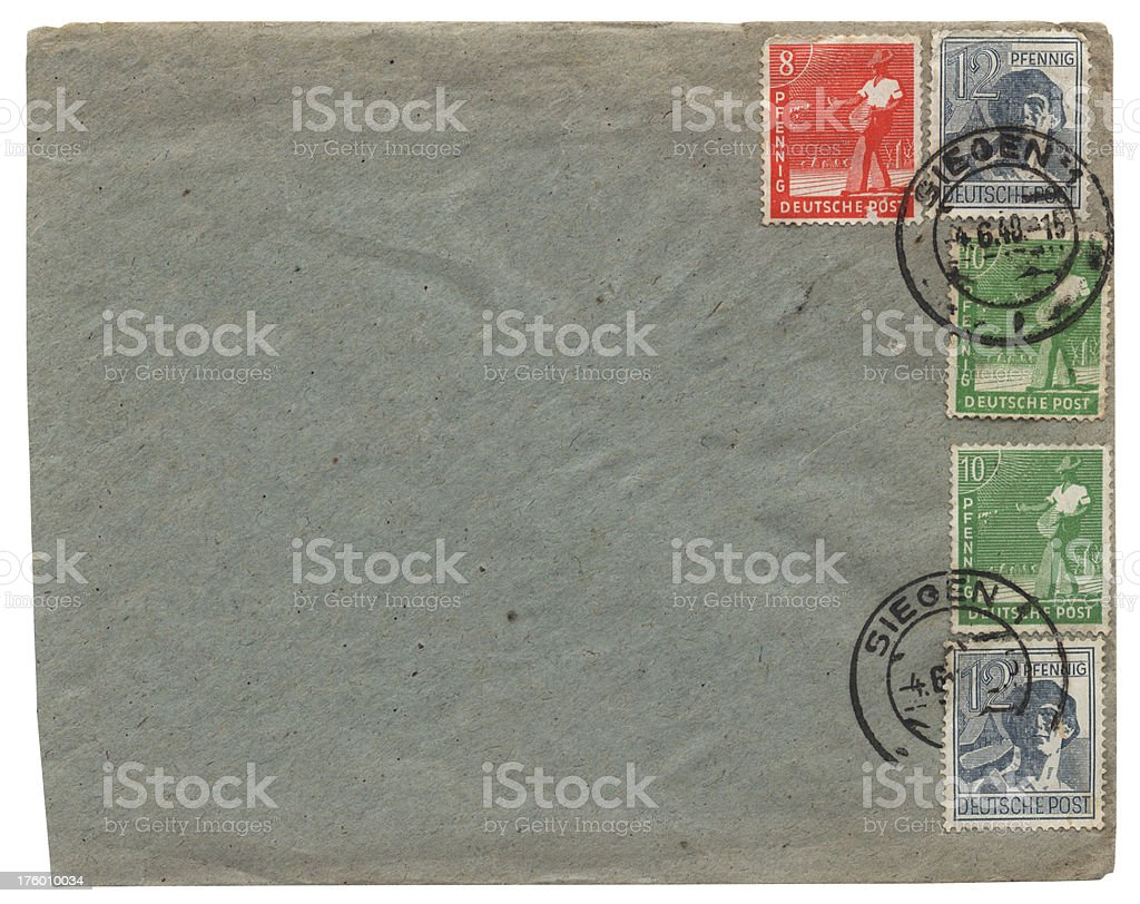 Envelope sent from Siegen, Germany, in 1948 stock photo
