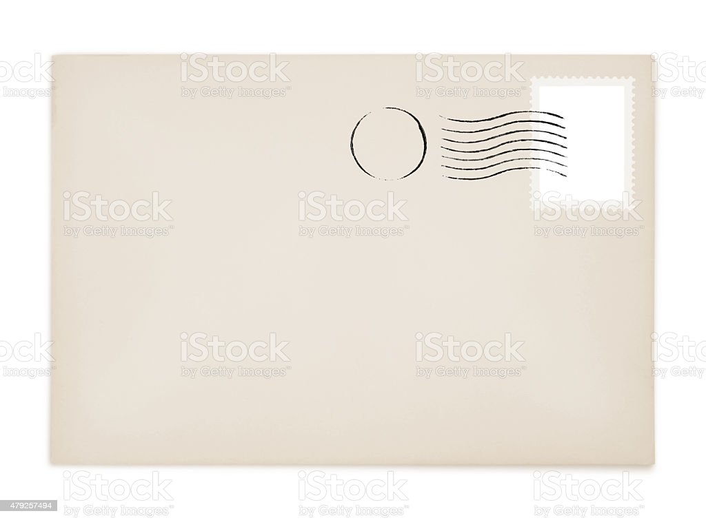 Envelope Stamp and Postmark (with paths) stock photo