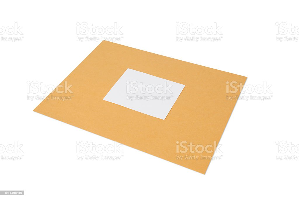 Envelope with Blank Label - Clipping paths included royalty-free stock photo