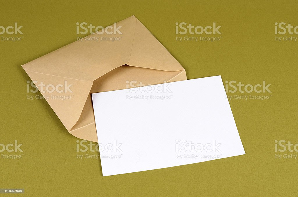 Envelope with blank message card royalty-free stock photo