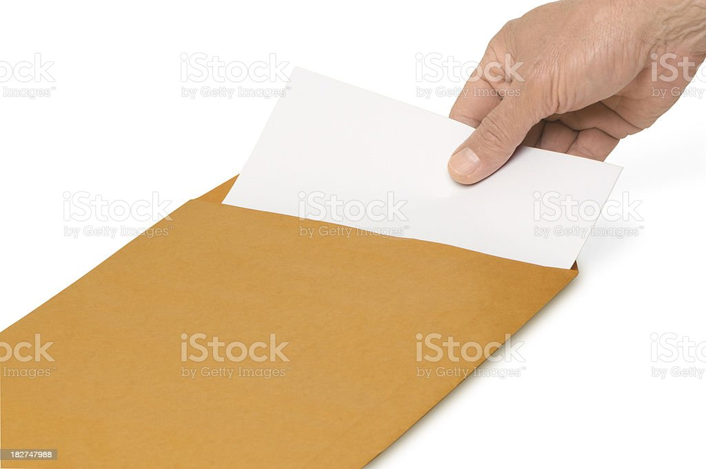 envelope with blank paper stock photo