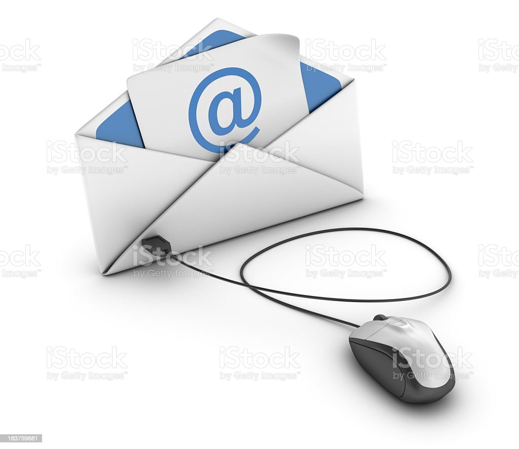 Envelope with Computer Mouse and E-mail stock photo