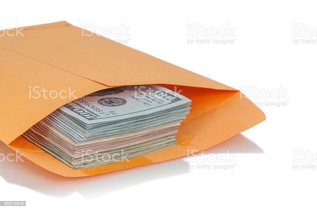 Envelope with dollars stock photo