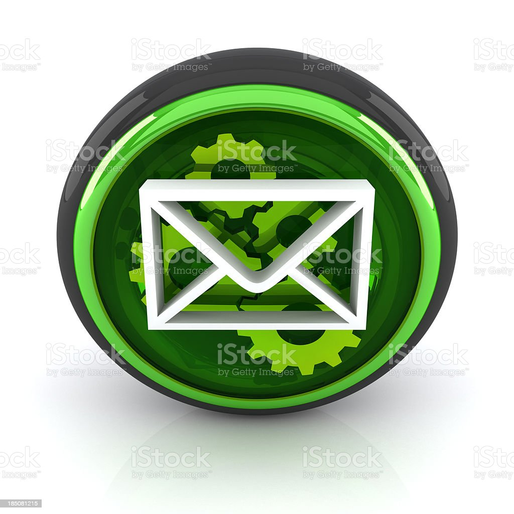 Envelope with gears 3D icon royalty-free stock photo