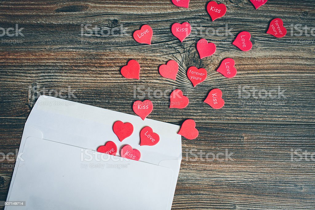 Envelope with hearts. stock photo