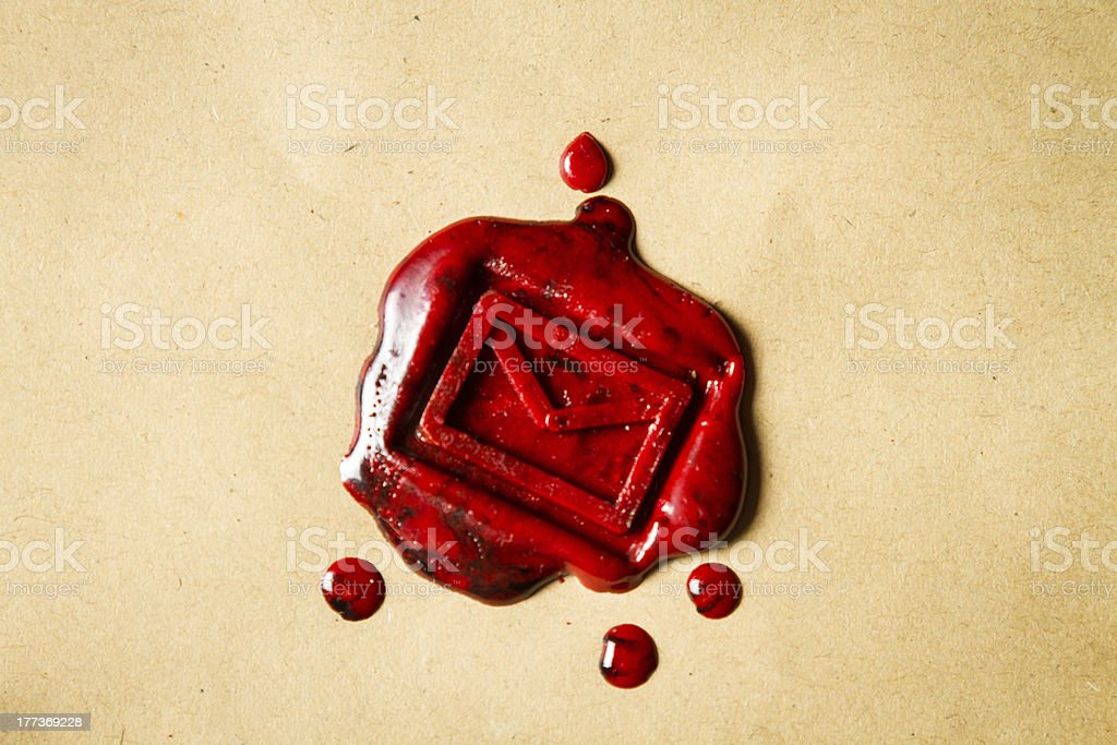 Envelope with imprinted sealing wax royalty-free stock photo