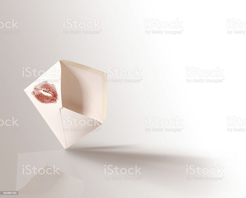 Envelope with kiss stock photo