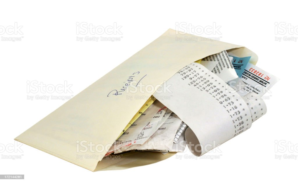 Envelope with receipts stock photo