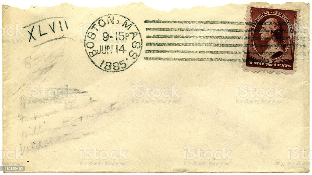 Envelope with scribbled note, from Boston, Massachusetts, 1885 stock photo