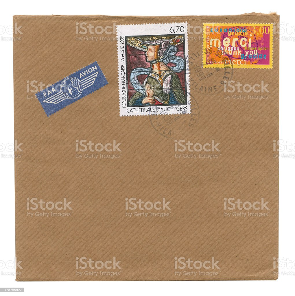 Envelope with thank you stamp stock photo