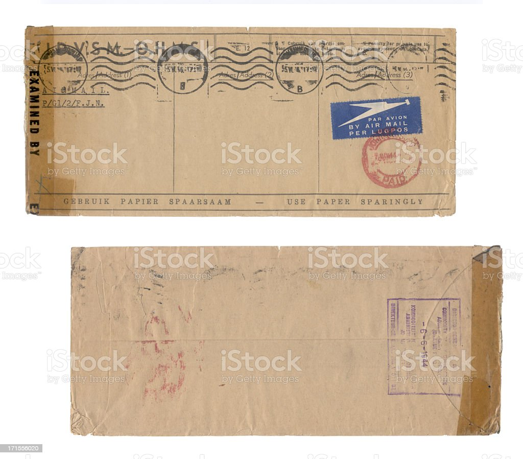 Envelope year 1944 stock photo