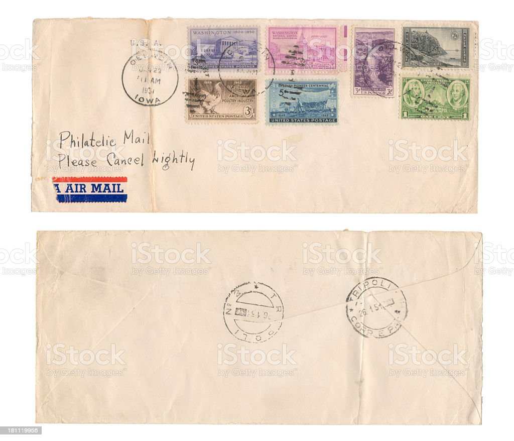 USA envelope year 1951 stock photo