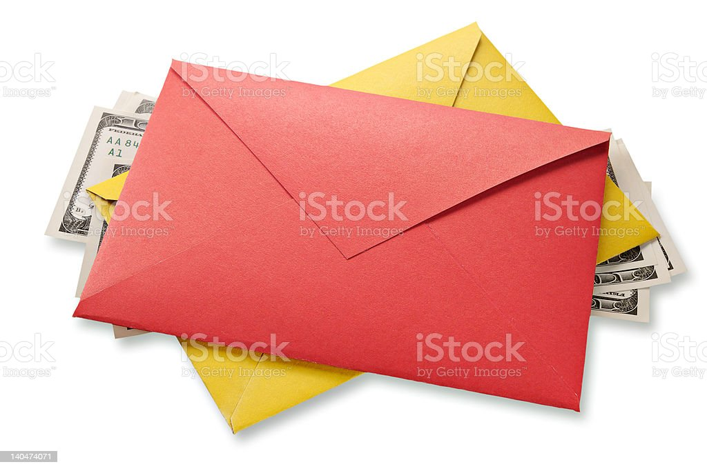 Envelopes and dollars background royalty-free stock photo