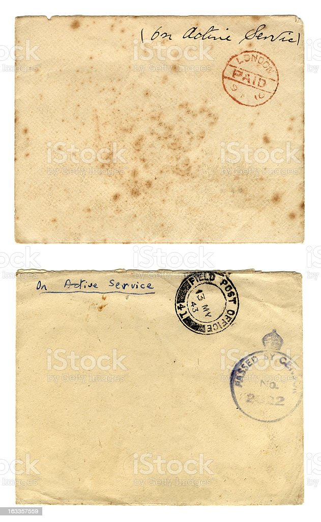 Envelopes from two world wars stock photo