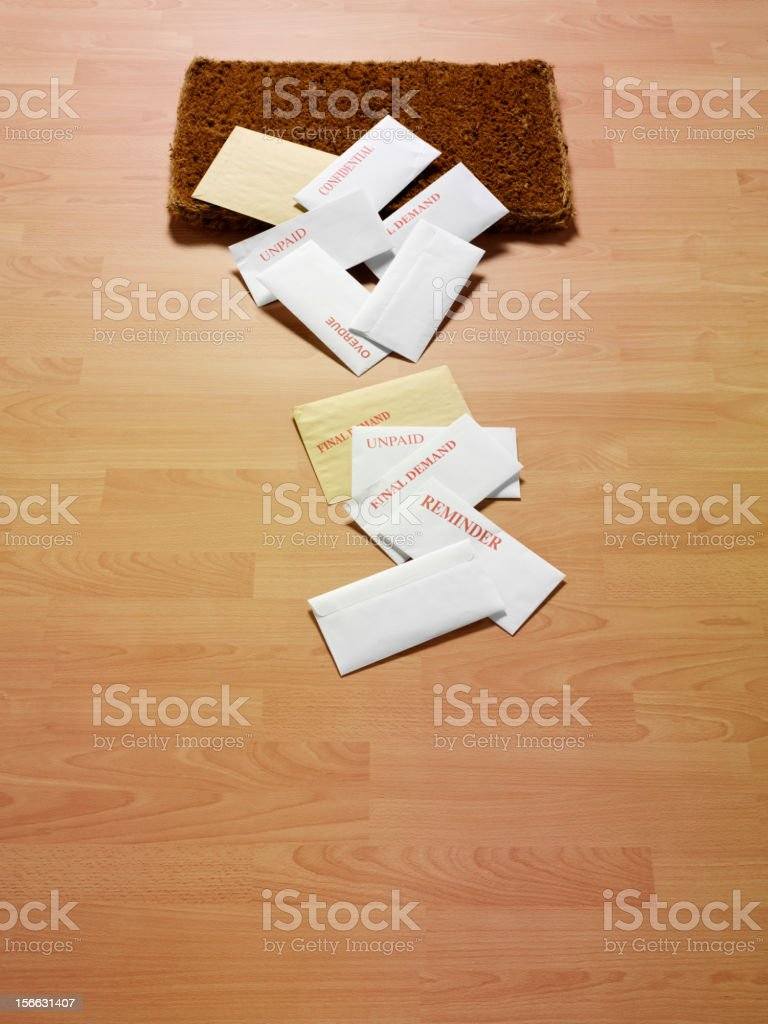 Envelopes on a Wooden  Floor royalty-free stock photo