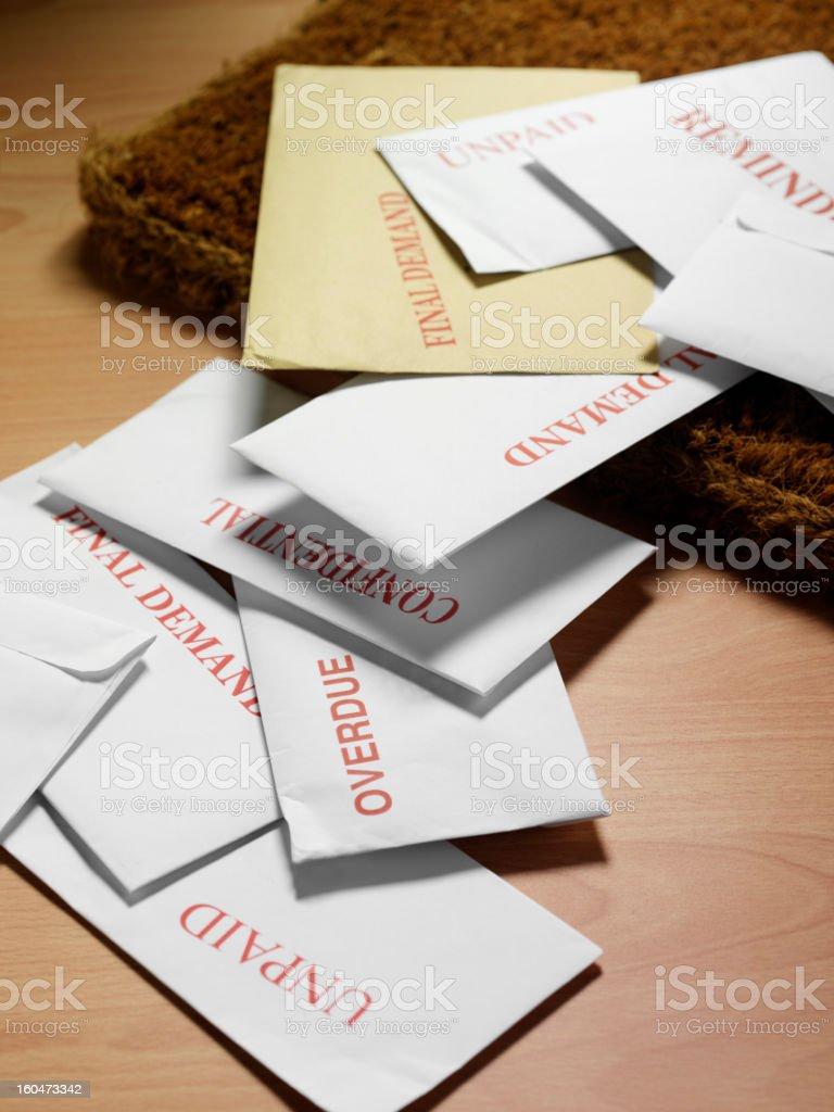 Envelopes on a Wooden Floor stock photo