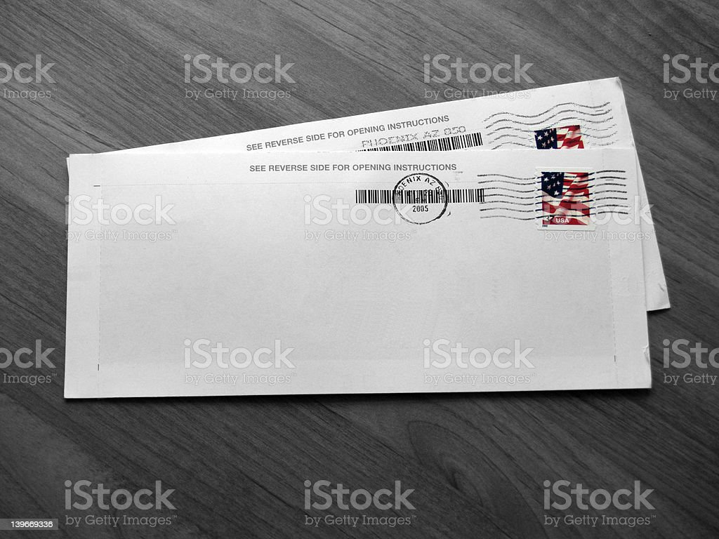 Envelopes (B&W - Isolated Color) stock photo