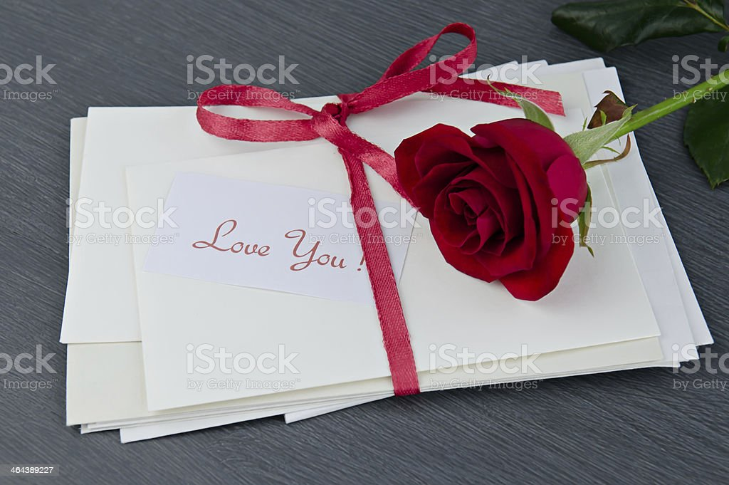 Envelopes with love you message stock photo