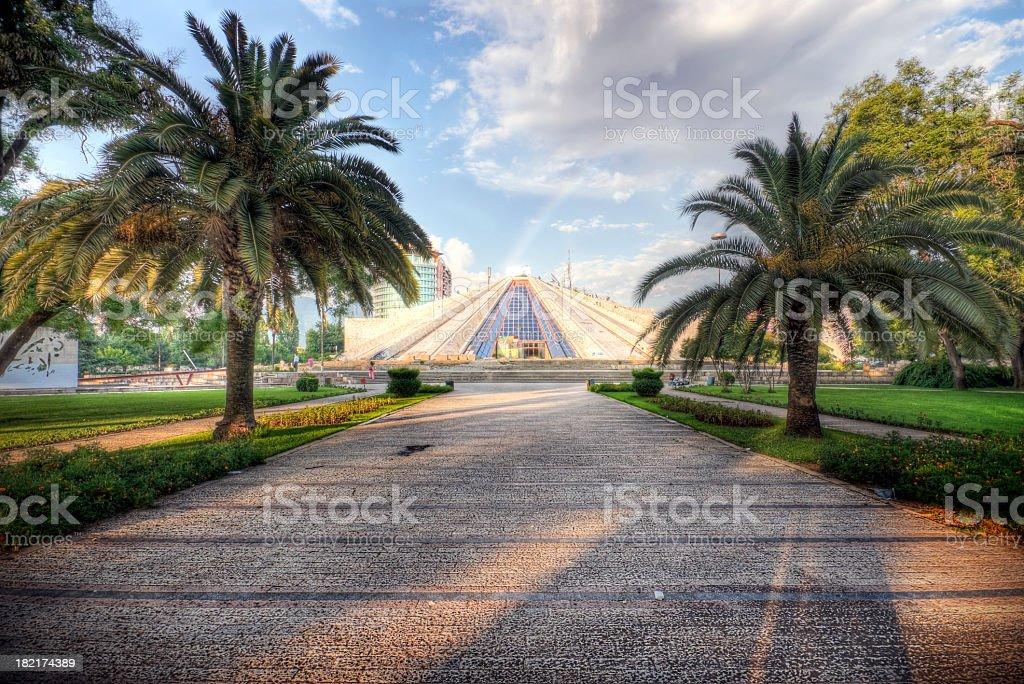 Enver Hoxha Pyramid in Tirana stock photo