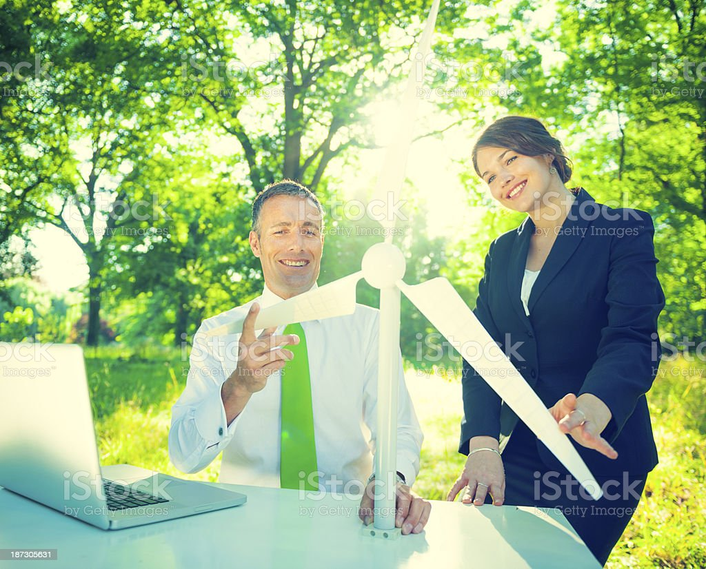 Enviromentally Friendly Business People  Working Outdoors royalty-free stock photo
