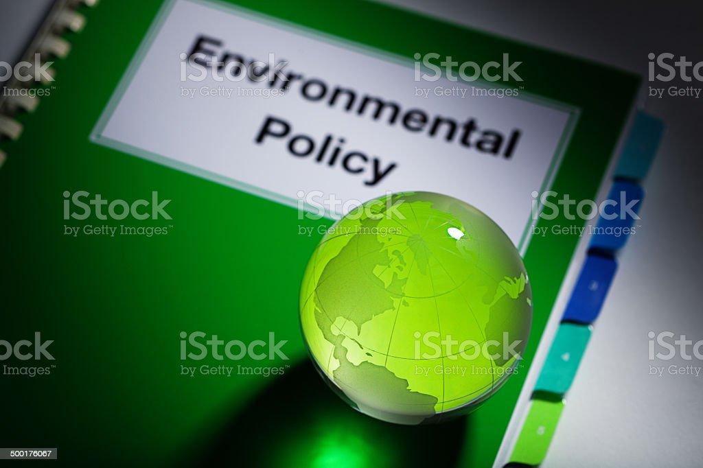Environmenental Policy Manual Handbook with Green Globe America Horizontal stock photo