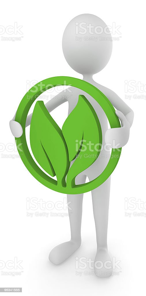 Environment friendly man holding leaves royalty-free stock photo