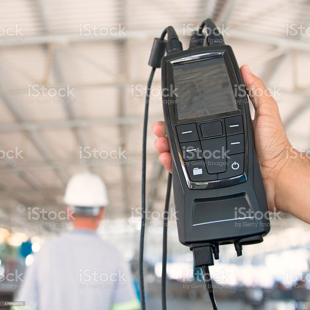 Environment measurement in industrial working area stock photo