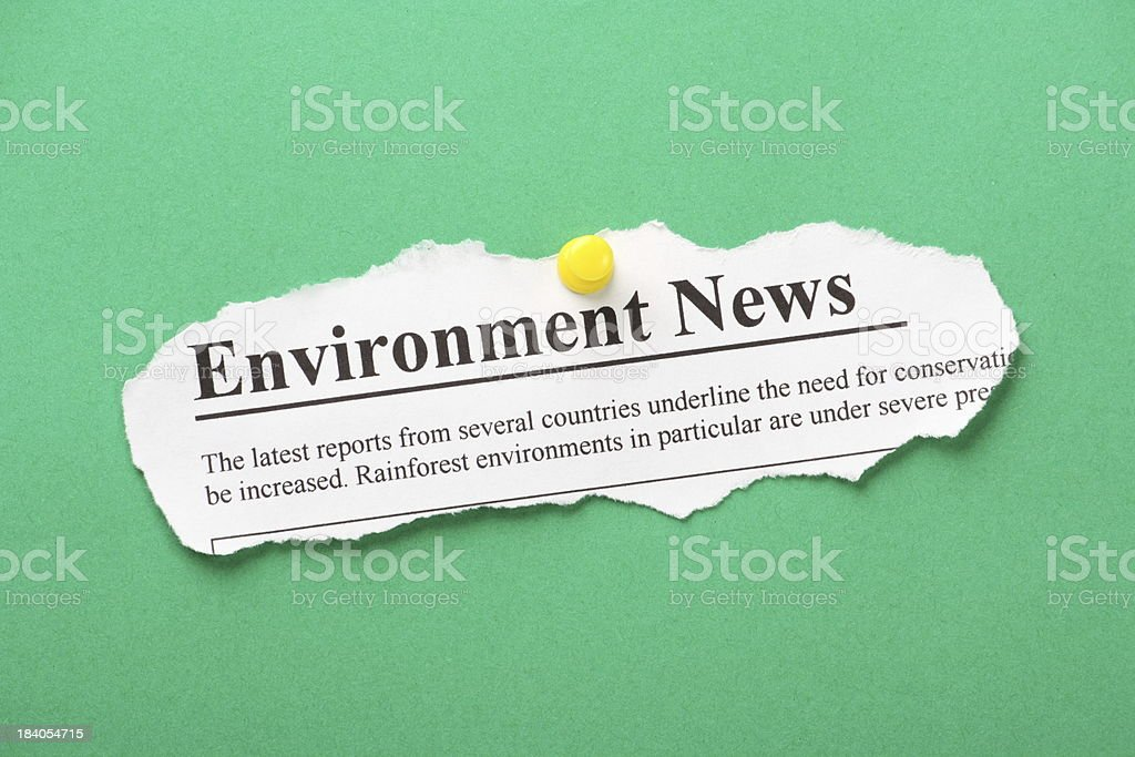 Environment Newspaper Clipping stock photo