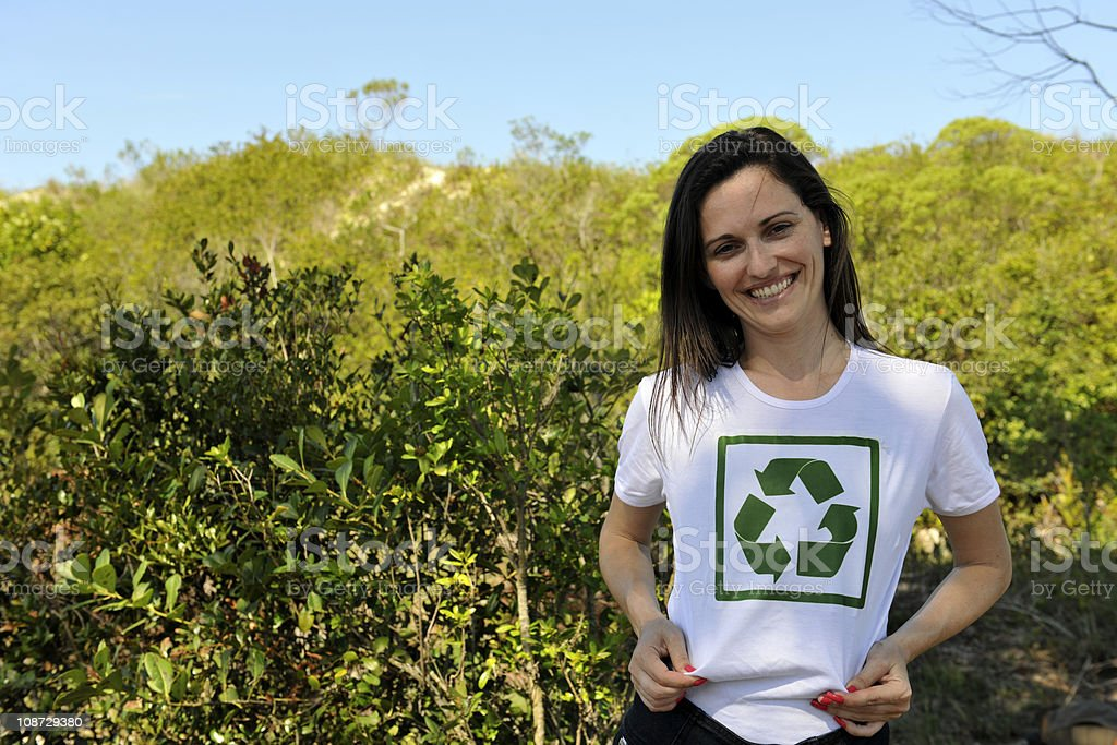 Environmental activist  wearing recycle t-shirt stock photo