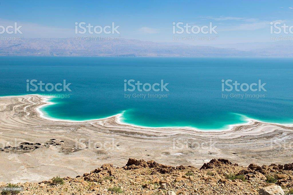 environmental catastrophe on the Dead Sea, Israel stock photo