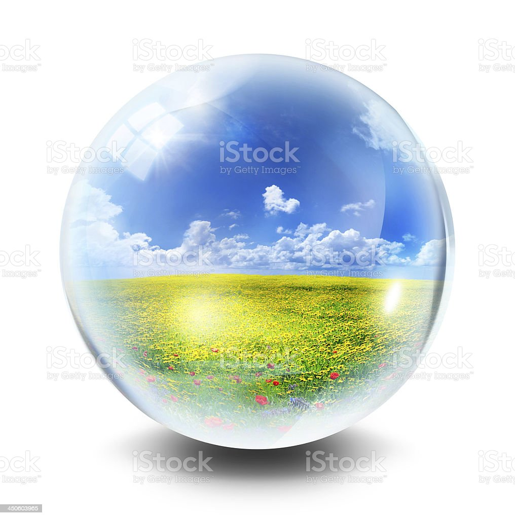environmental concept locked in a sphere stock photo