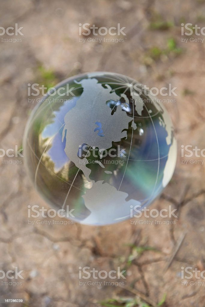 glass globe on dry ground,Environmental Conservation concept
