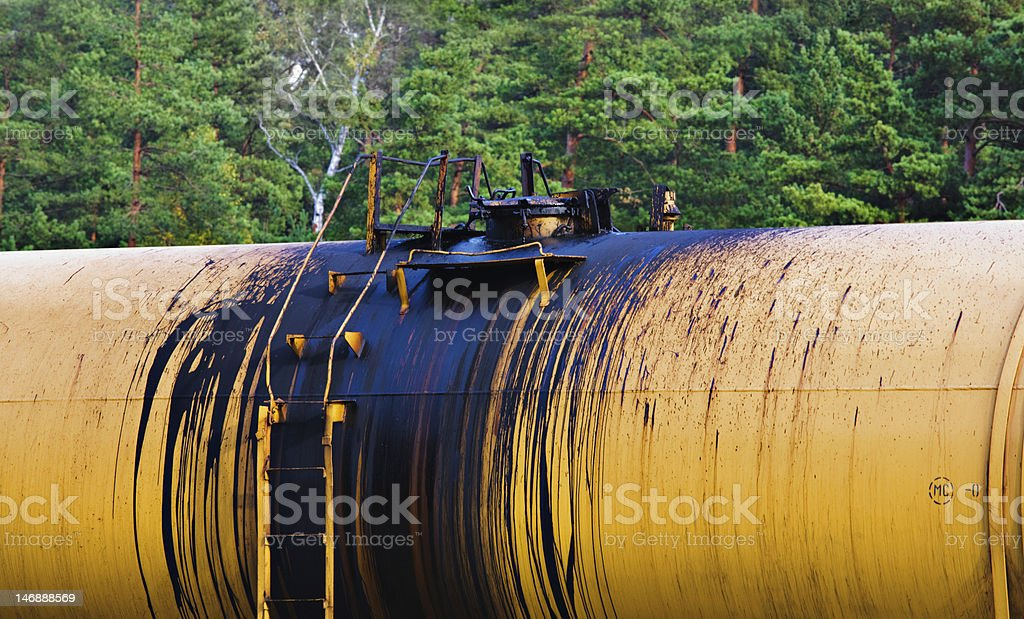 Environmental damage from oil during transportation stock photo